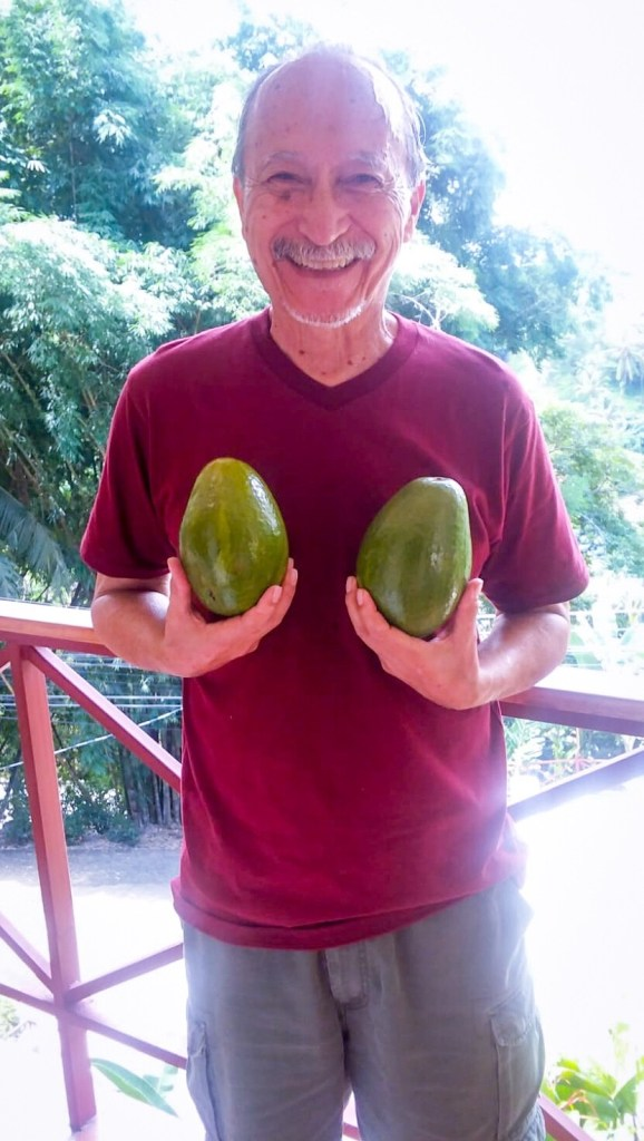 Dad with local avocados