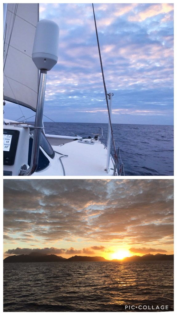 Sunrise on the approach to Huahine