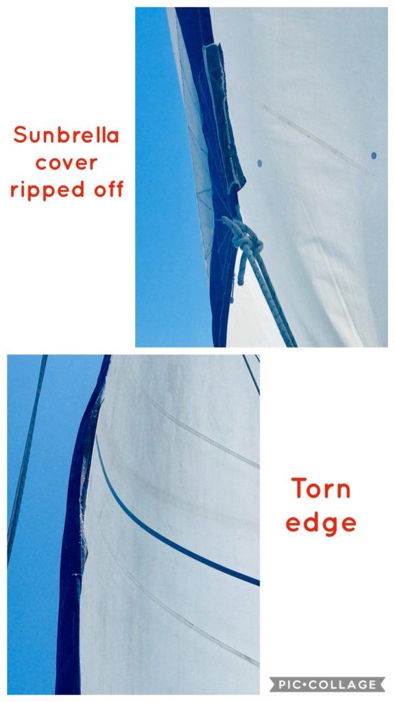 Ripped jib edge
