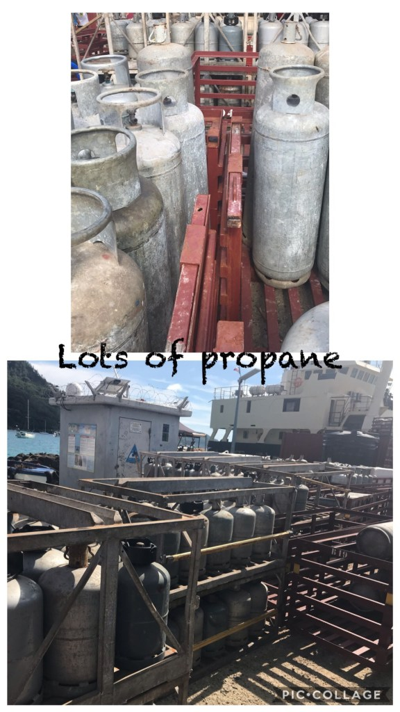 Propane bottles - restocking the island