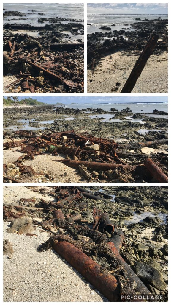 Old steel uncovered on shore