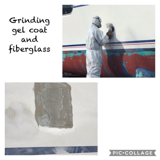 Grinding down the fiberglass
