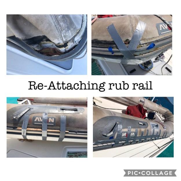 Attaching the rub rail to the dinghy