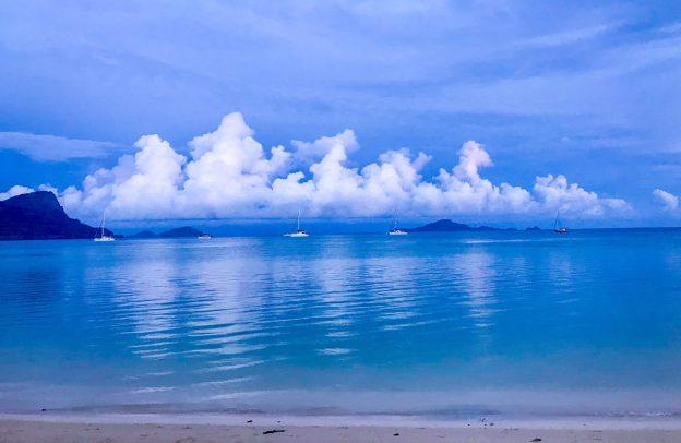 Taravai anchorage on a calm day