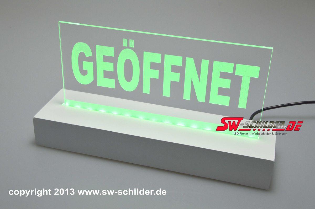 Led Tischaufsteller Geoffnet Graviert Mit Indirekter Led Beleuchtung