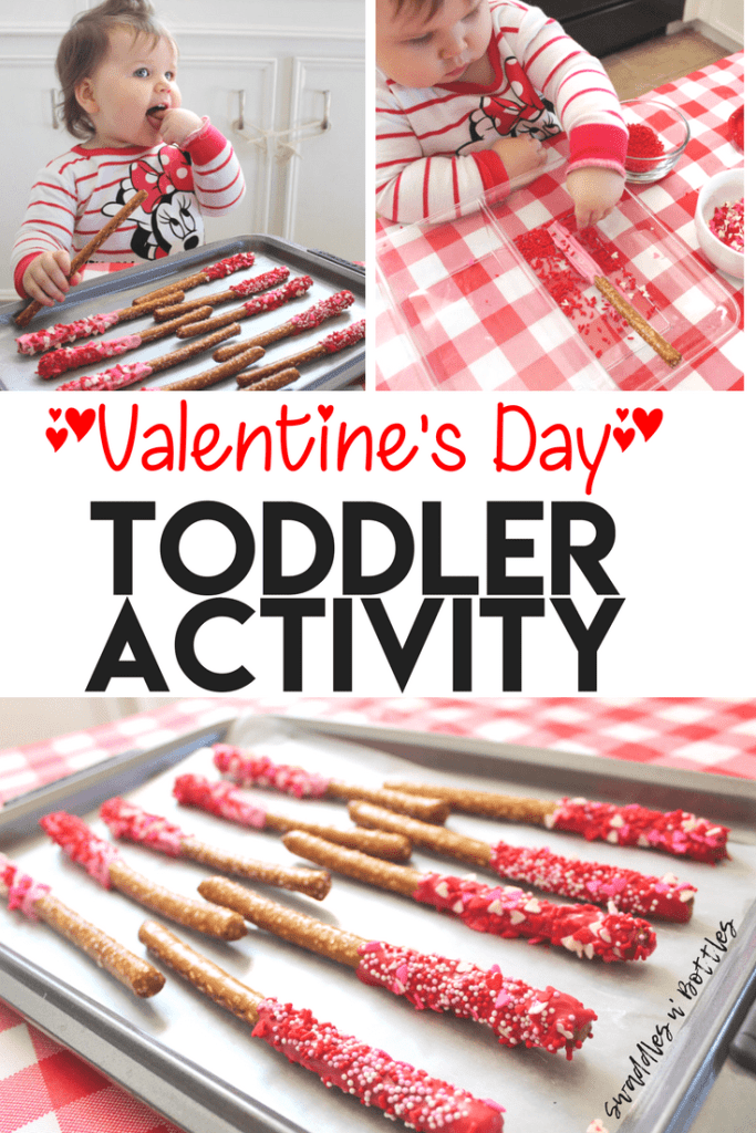 Toddler Valentines Day Activity- Dipped Pretzels