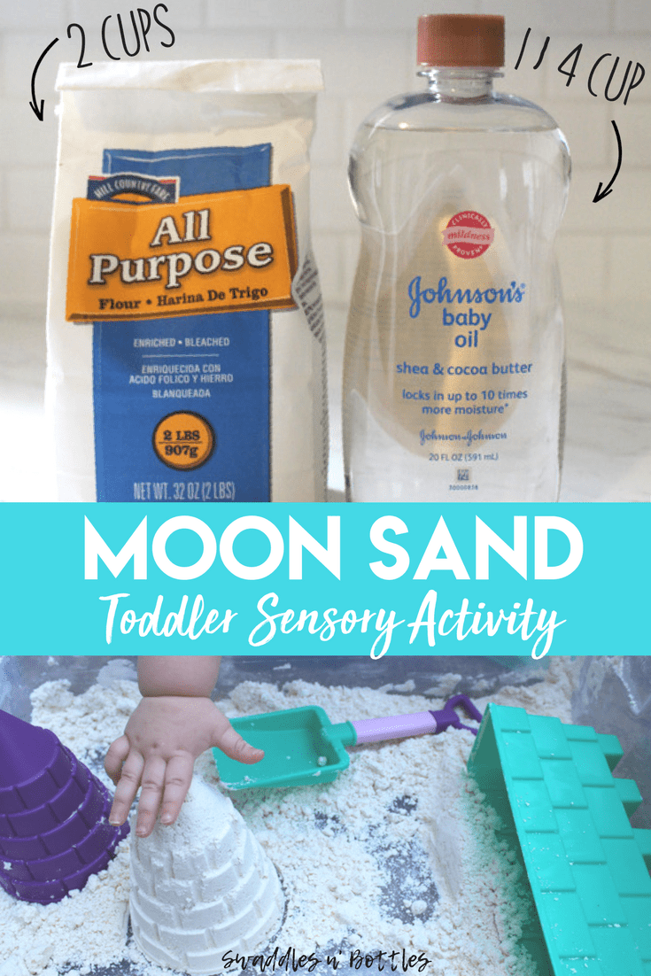 Moon sand is the perfect sensory activity for toddlers! Simply mix 1/4 cup baby oil for every 2 cups of flour! Perfect outdoor activity for kids of any age!