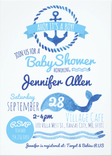 Nautical Baby Shower Invitation for Baby Boy