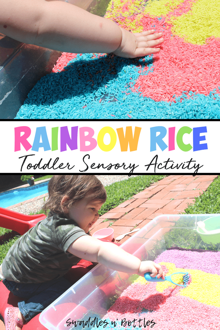 RAINBOW RICE- an easy and cheap sensory activity for toddlers and kids, indoor and outdoor! Just 3 ingredients needed to make this. Can be stored and used over and over!