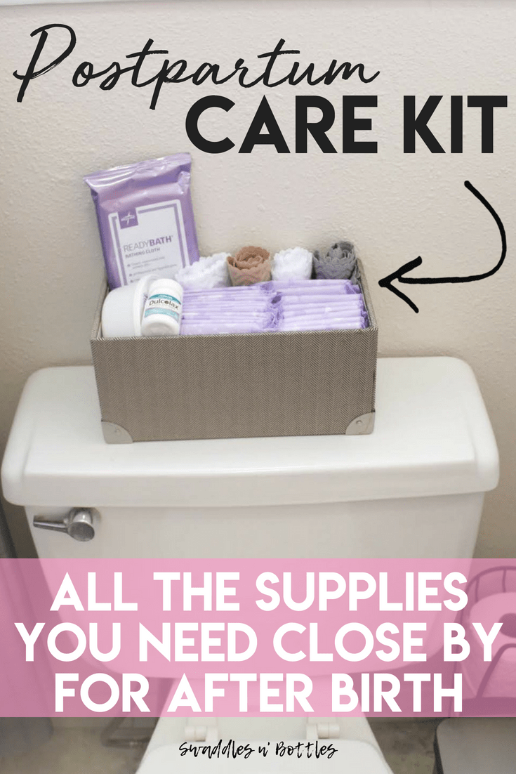 Postpartum Care Kit to Relieve Pain and Provide Comfort. Everything the new mama needs in her bathroom after birth. Includes a shopping list for best postpartum pads, best pain relief spray and how to tame other issues.