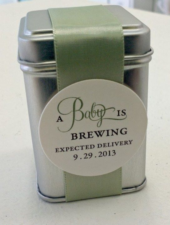 A baby is brewing! Tea tin as a baby shower gift!