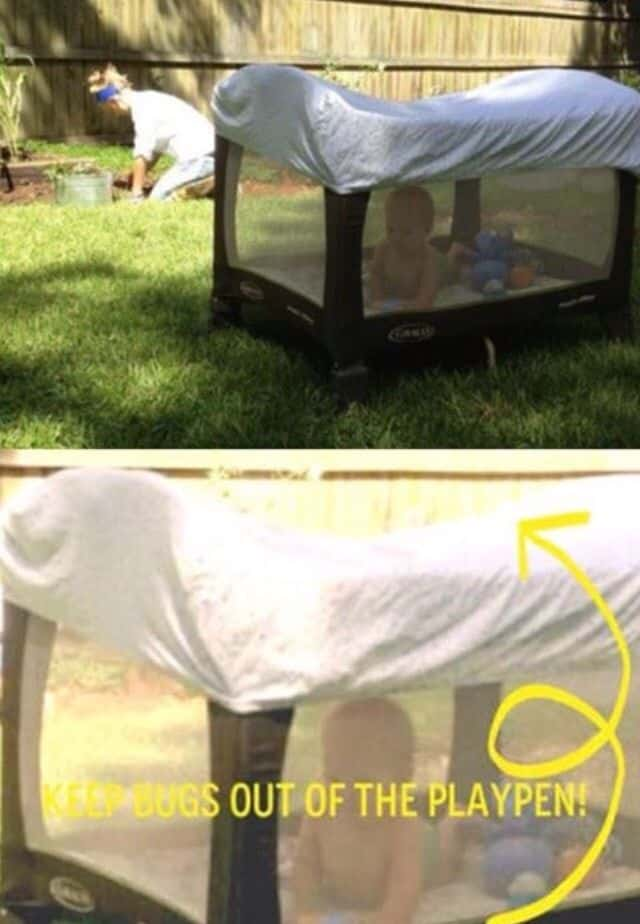 Keep bugs and mosquitos off of baby with a crib sheet over a pack n play