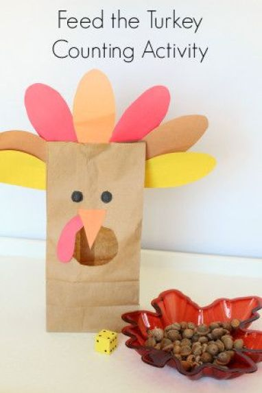 """Thanksgiving """"feed the turkey"""" activity for toddlers, More activities in blog post!"""