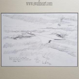 Concorde over South Wales original pencil drawing