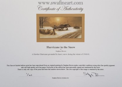 Hurricane in the Snow Mounted Limited Edition Pencil Drawing Certificate (Stephen Brown Aviation Artist)