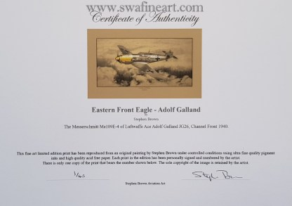 Lone Eagle Adolf Galland Mounted Limited Edition Pencil Drawing Certificate (Stephen Brown Aviation Artist)