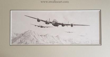Lancaster original pencil Drawing (Stephen Brown Aviation Artist)