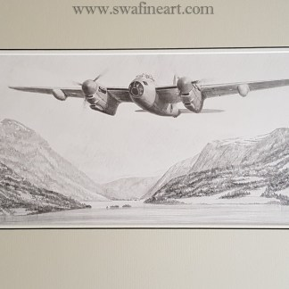 mosquito original pencil drawing (Stephen Brown Aviation Atrist)