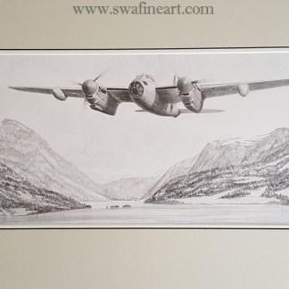 mosquito original pencil drawing (Stephen Brown Aviation Atrist)