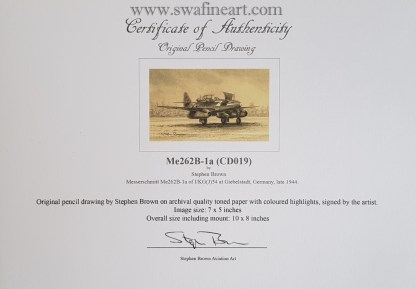 Me262B-1a original Stephen Brown certificate
