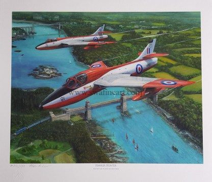 Hawker Hunter above the Menai Strait