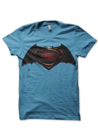 batman v superman sky blue tee