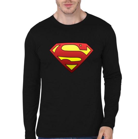 superman black full sleeve tee
