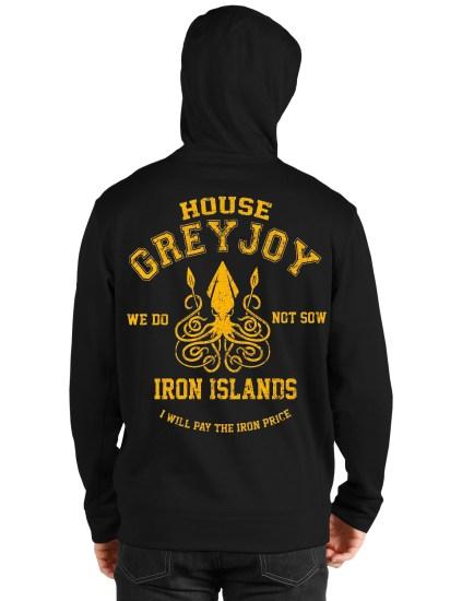 house greyjoy black hoodie back