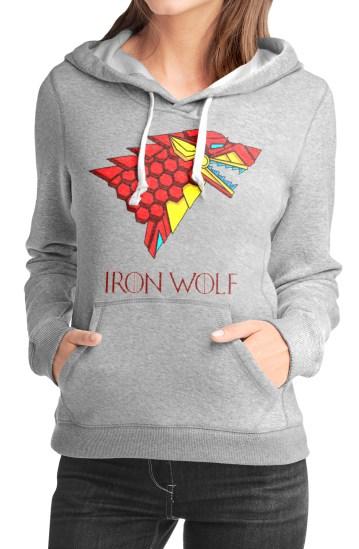 iron direwolf grey girls hoodie