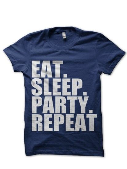 eat sleep party repeat navy blue t-shirt