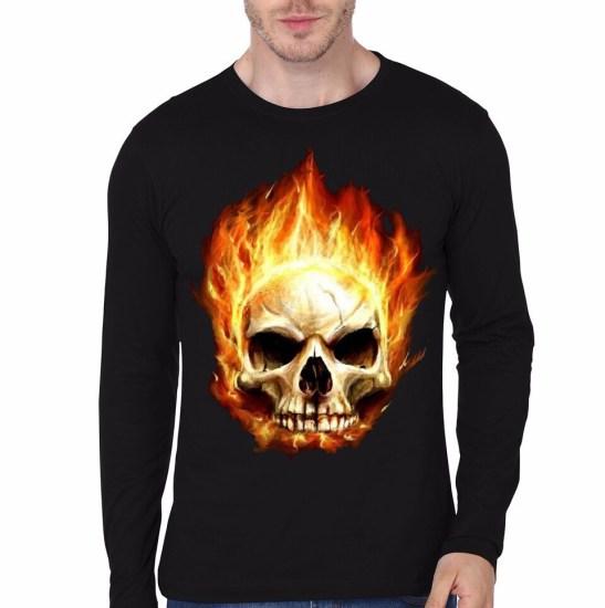 burning skull black full sleeve tee