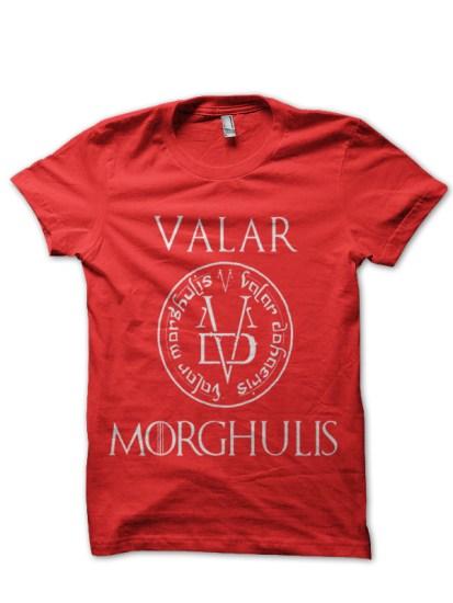valar morghulis red t-shirt