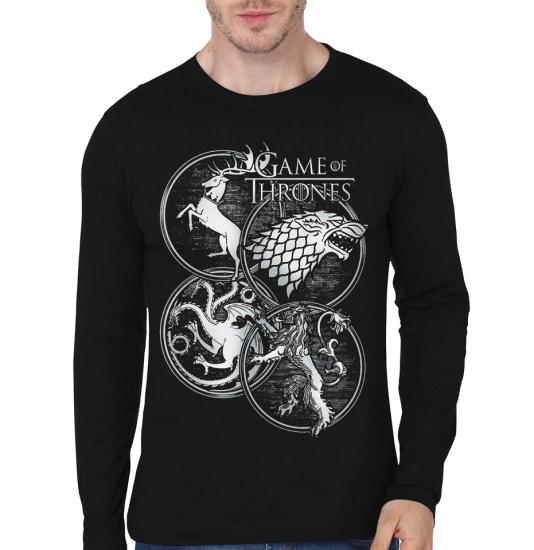 4 house black full sleeve t-shirt