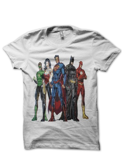 justice league 5white tee