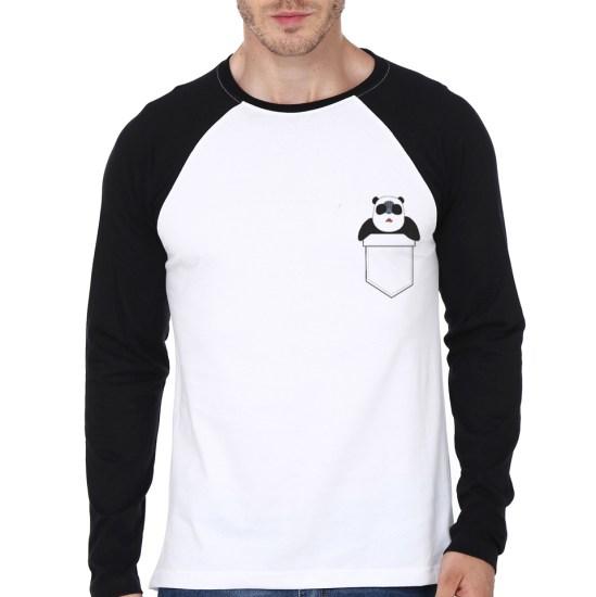pocket panda white n black tee