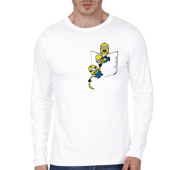 minions white full sleeve t-shirt
