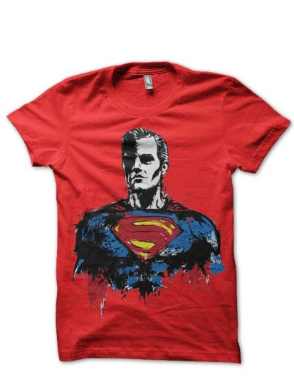superman abs red t shirt