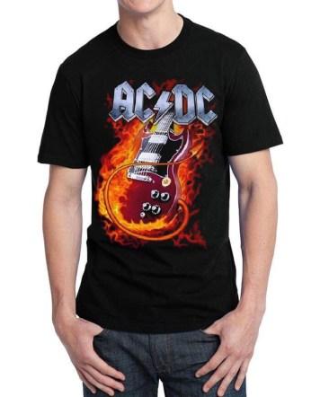AC DC guitar black tshirt