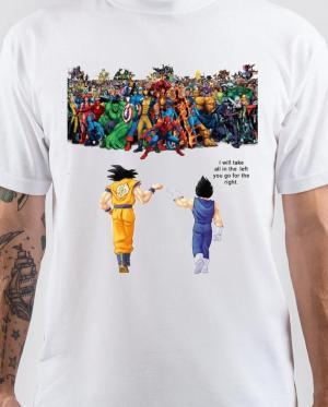 Goku and Vegeta Vs Marvel White T-Shirt