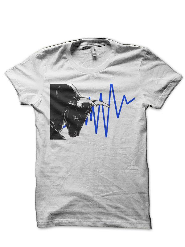 Share Market Bull White T-Shirt