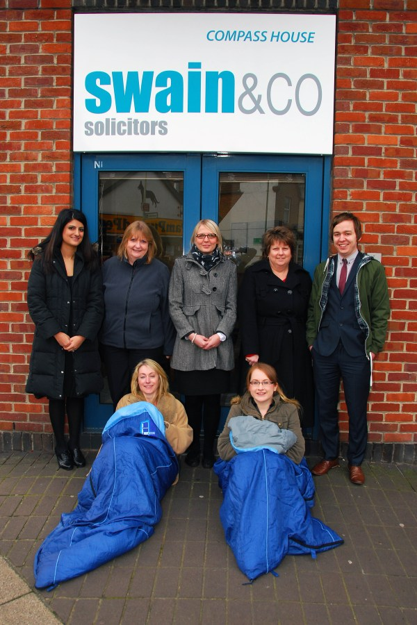 Swain & Co.'s housing team that are sleeping on streets of Portsmouth to raise money for the homeless