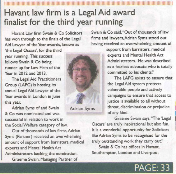 Legal Aid award finalist