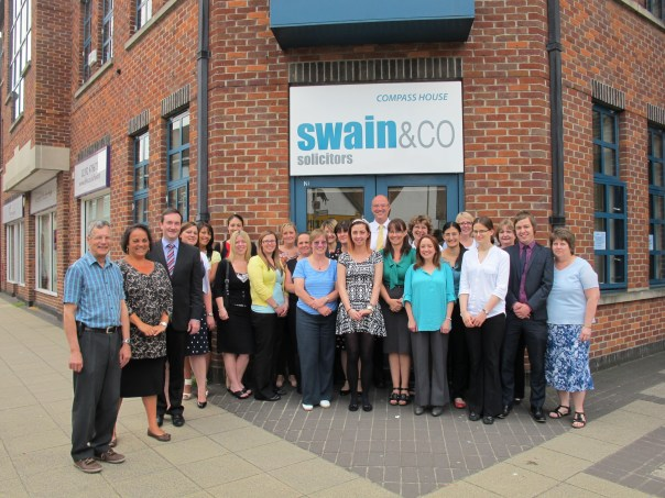 Picture of Swain & Co Solicitor's staff as they prepare for the legal aid firm of the year awards