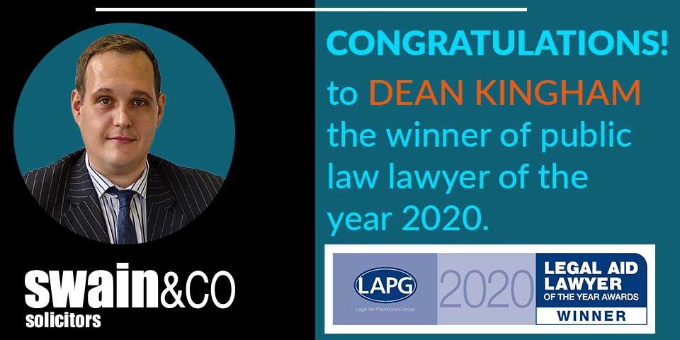 Dean Kingham – Public law Legal Aid Lawyer of the Year 2020