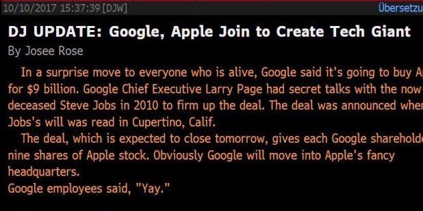 كذبة ابريل في شهر اكتوبر : جوجل تستحوذ على ابل مقابل 9 مليار دولار