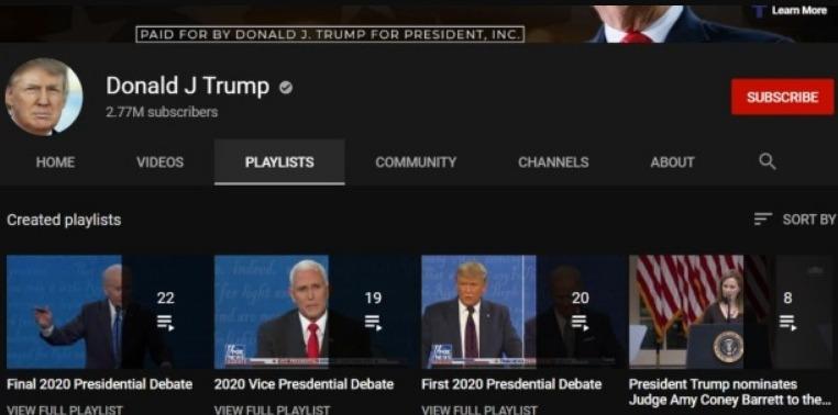 يوتيوب ينضم للركب ويحذف مقاطع فيديو ترامب ويمنع اضافة مقاطع جديدة