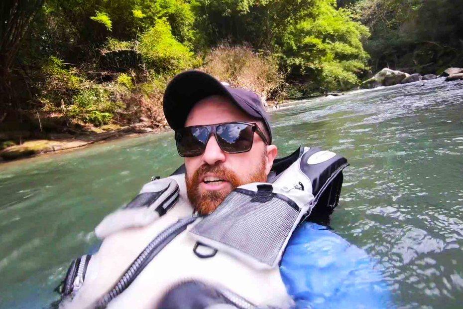 David Douglas Stuart floating down the Anraku River