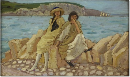 Figures on a Shore, undated (oil on wood)