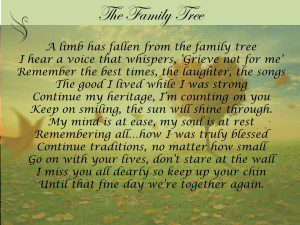 Family Tree Funeral Poem Swanborough Funerals