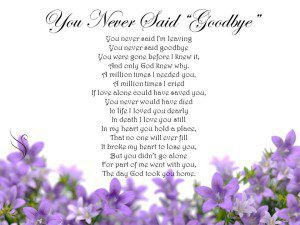 funeral Poem Goodbye